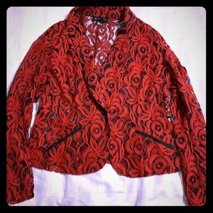 Red and black lace blazer